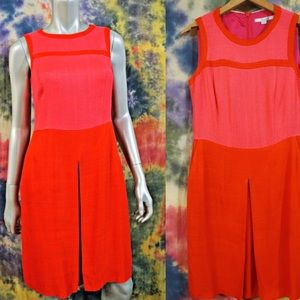 Boden Pink Red ColorBlock Shift Dress W/Pockets 4